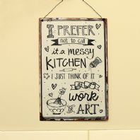 Retro Design 'Messy Kitchen' Metal Plaque
